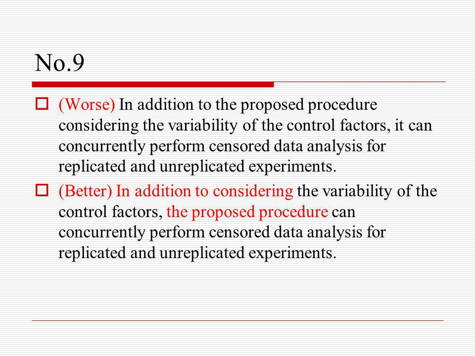 No.9  (Worse) In addition to the proposed procedure considering the variability of the control factors, it can concurrently perform censored data analysis for replicated and unreplicated experiments.