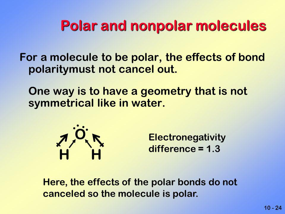10 - 24 Polar and nonpolar molecules For a molecule to be polar, the effects of bond polaritymust not cancel out. One way is to have a geometry that i