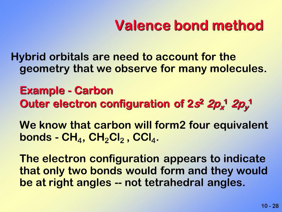 10 - 28 Valence bond method Hybrid orbitals are need to account for the geometry that we observe for many molecules. Example - Carbon Outer electron c