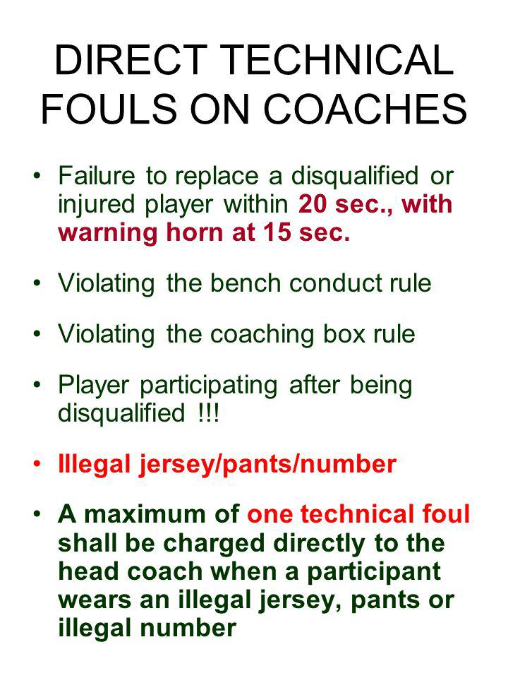 DIRECT TECHNICAL FOULS ON COACHES Failure to replace a disqualified or injured player within 20 sec., with warning horn at 15 sec.