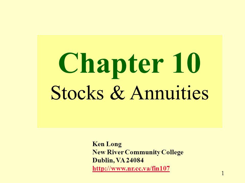1 Chapter 10 Stocks & Annuities Ken Long New River Community College Dublin, VA 24084 http://www.nr.cc.va/fin107 http://www.nr.cc.va/fin107