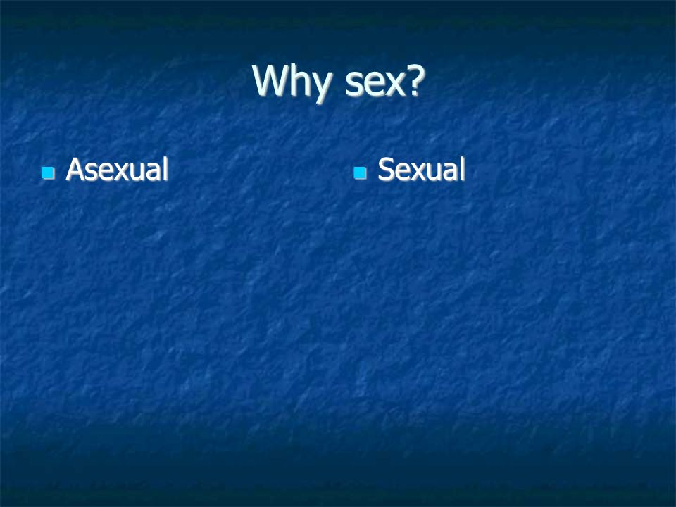 Why sex? Asexual Asexual Sexual Sexual