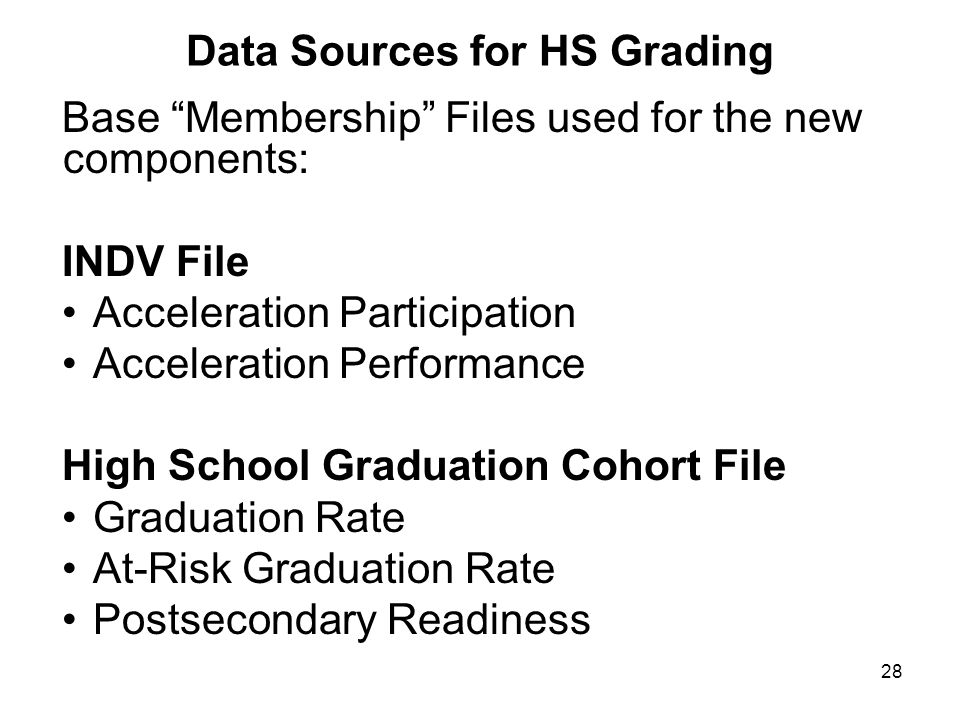 "28 Data Sources for HS Grading Base ""Membership"" Files used for the new components: INDV File Acceleration Participation Acceleration Performance High"