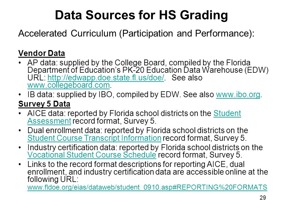 29 Data Sources for HS Grading Accelerated Curriculum (Participation and Performance): Vendor Data AP data: supplied by the College Board, compiled by