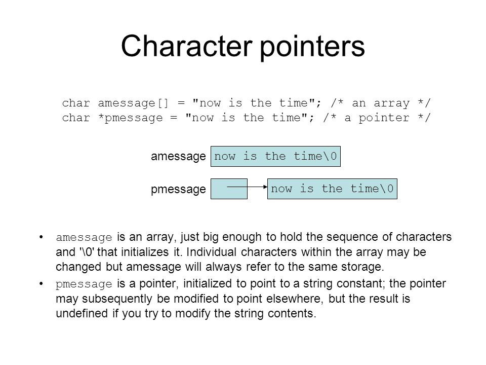 Character pointers amessage is an array, just big enough to hold the sequence of characters and '\0' that initializes it. Individual characters within