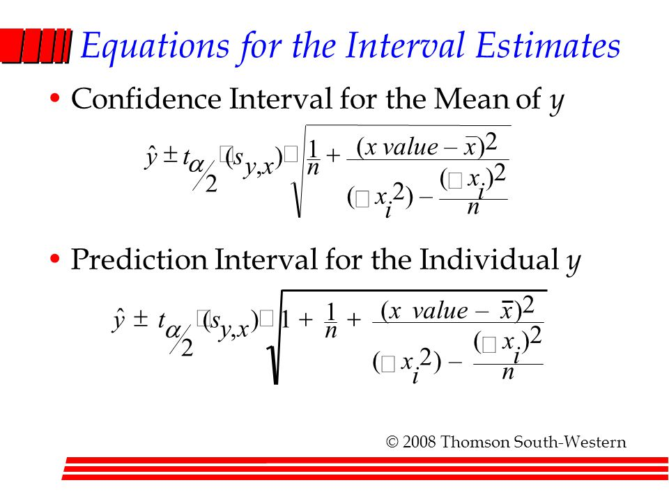 Equations for the Interval Estimates Confidence Interval for the Mean of y Prediction Interval for the Individual y    n i x i x xvaluex n xy st