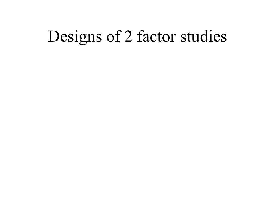 Designs of 2 factor studies