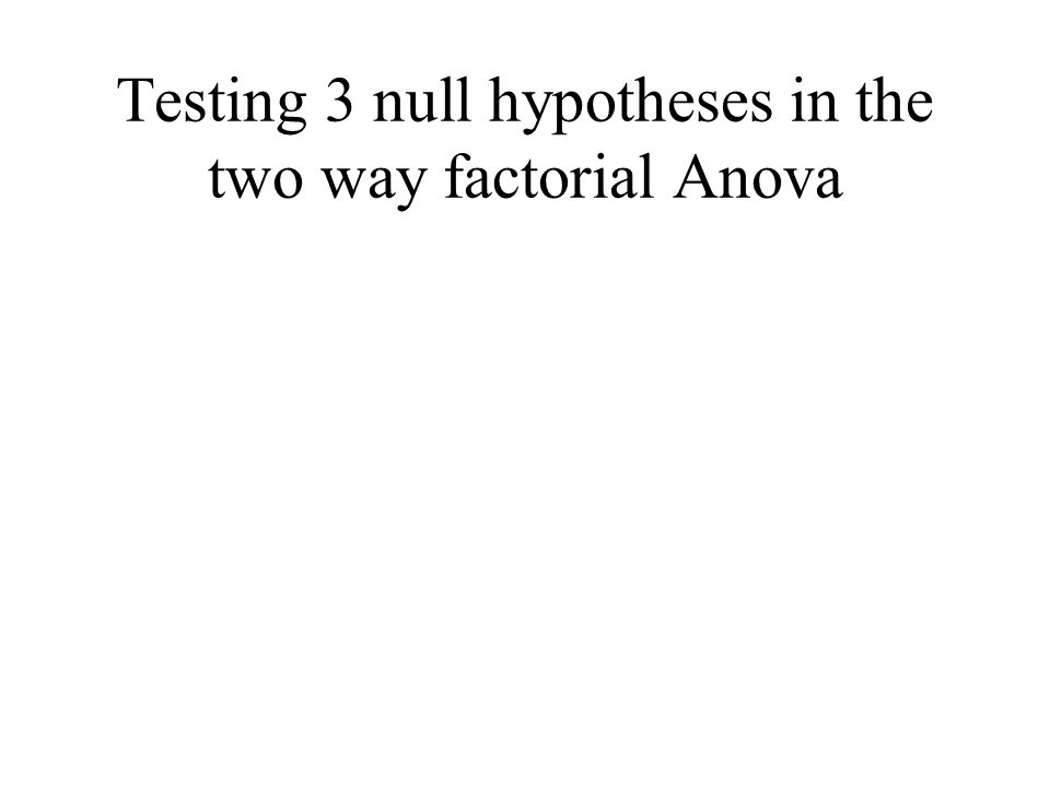 Testing 3 null hypotheses in the two way factorial Anova