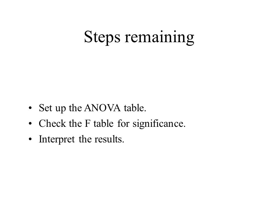 Steps remaining Set up the ANOVA table. Check the F table for significance. Interpret the results.