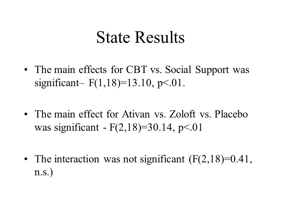 State Results The main effects for CBT vs. Social Support was significant– F(1,18)=13.10, p<.01.