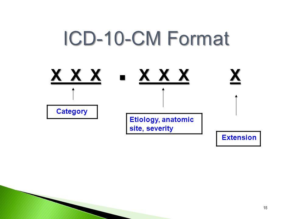 X X X X X X X Category Etiology, anatomic site, severity 18 Extension