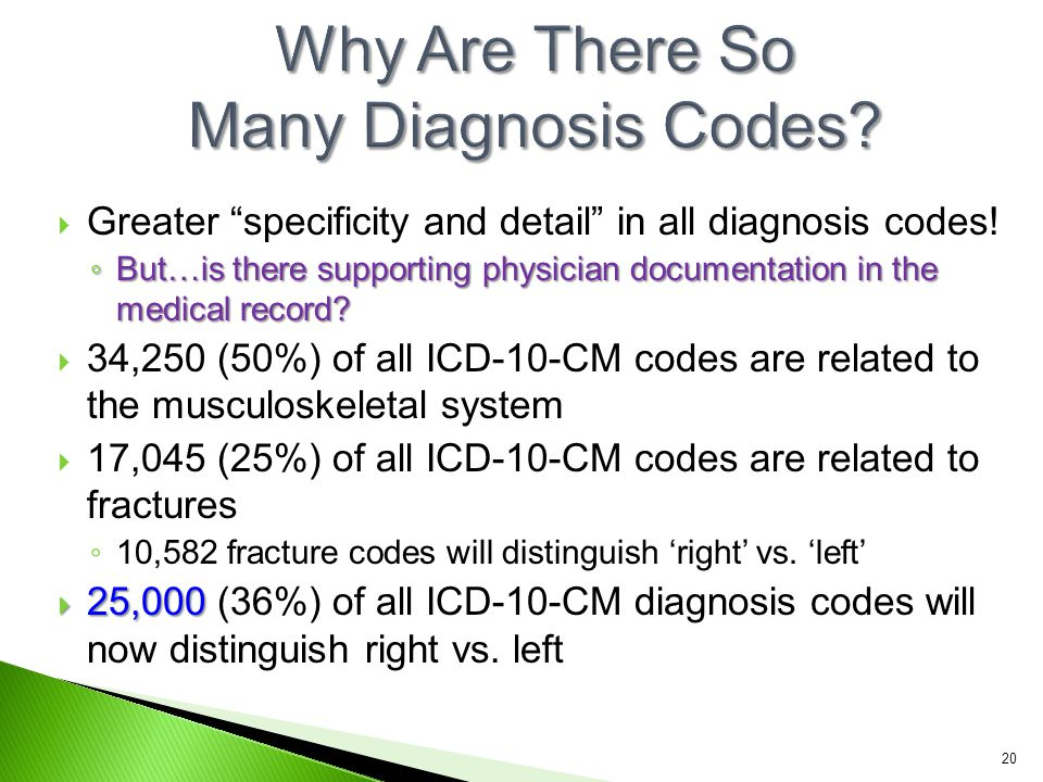 """ Greater """"specificity and detail"""" in all diagnosis codes! ◦ But…is there supporting physician documentation in the medical record?  34,250 (50%) of"""