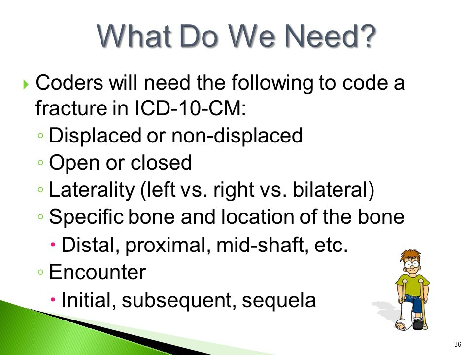  Coders will need the following to code a fracture in ICD-10-CM: ◦ Displaced or non-displaced ◦ Open or closed ◦ Laterality (left vs. right vs. bilat