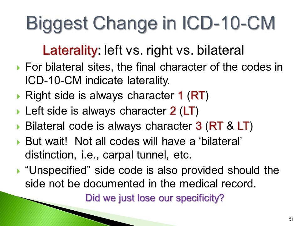 Laterality: Laterality: left vs. right vs. bilateral  For bilateral sites, the final character of the codes in ICD-10-CM indicate laterality. 1RT  R