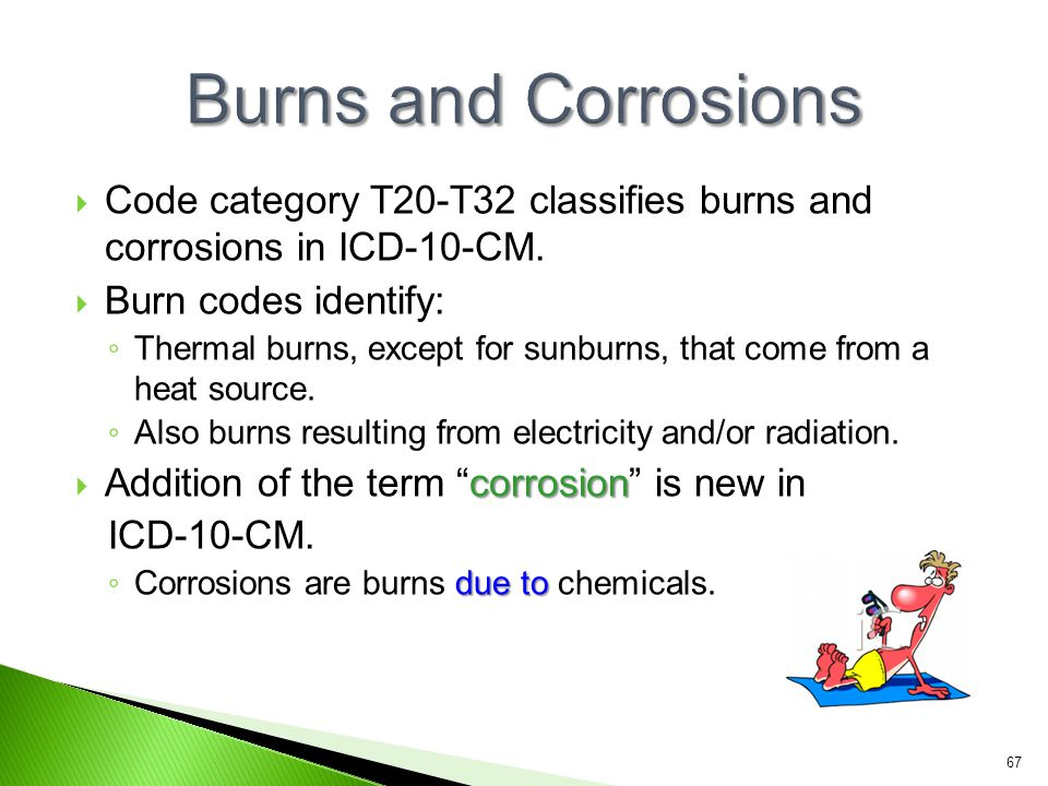  Code category T20-T32 classifies burns and corrosions in ICD-10-CM.  Burn codes identify: ◦ Thermal burns, except for sunburns, that come from a he