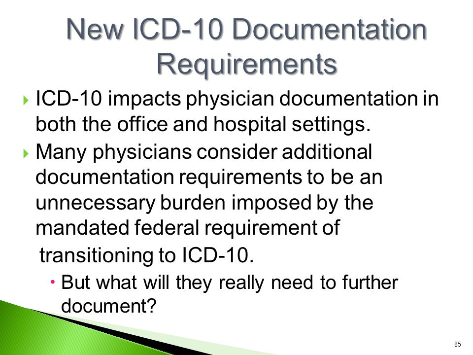  ICD-10 impacts physician documentation in both the office and hospital settings.  Many physicians consider additional documentation requirements to