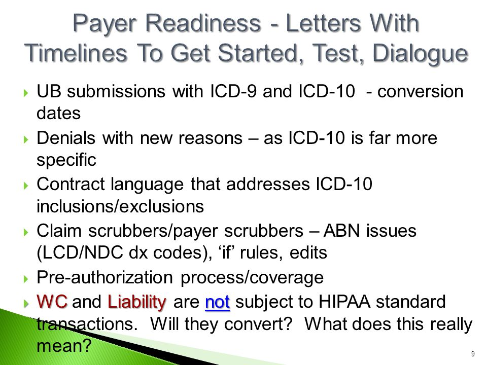  UB submissions with ICD-9 and ICD-10 - conversion dates  Denials with new reasons – as ICD-10 is far more specific  Contract language that address