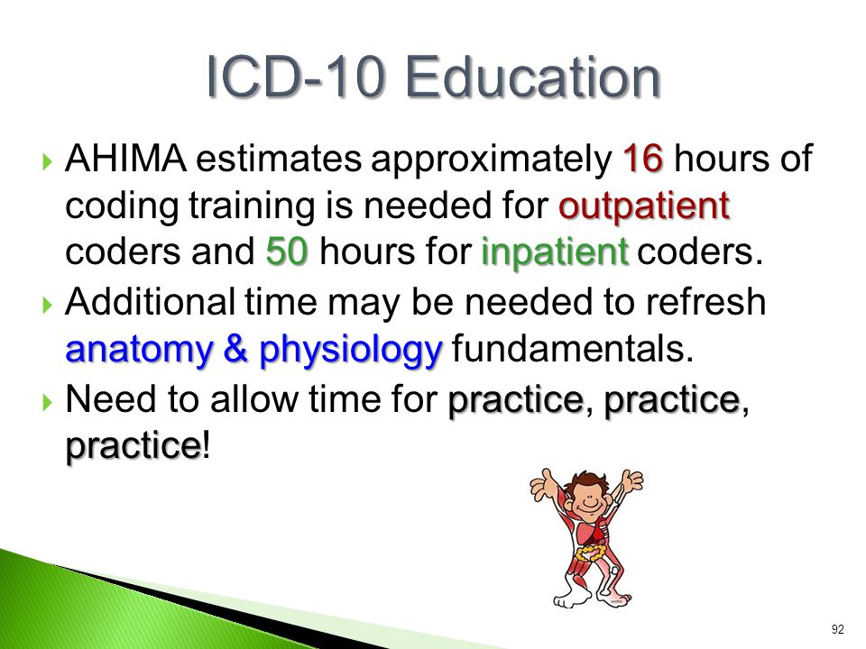 16 outpatient 50 inpatient  AHIMA estimates approximately 16 hours of coding training is needed for outpatient coders and 50 hours for inpatient code