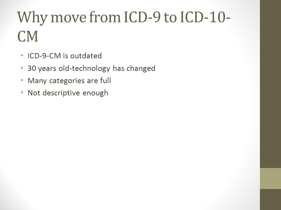 Why move from ICD-9 to ICD-10- CM ICD-9-CM is outdated 30 years old-technology has changed Many categories are full Not descriptive enough