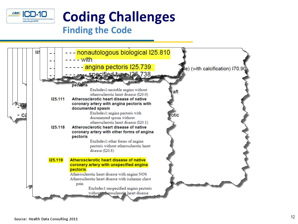 Coding Challenges Finding the Code 12 Source: Health Data Consulting 2011HResourcesc Crosswalks