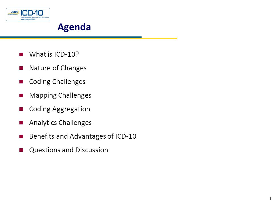 Agenda What is ICD-10? Nature of Changes Coding Challenges Mapping Challenges Coding Aggregation Analytics Challenges Benefits and Advantages of ICD-1