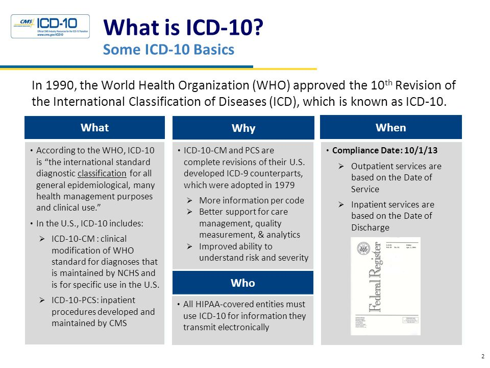 What is ICD-10? Some ICD-10 Basics 2 In 1990, the World Health Organization (WHO) approved the 10 th Revision of the International Classification of D