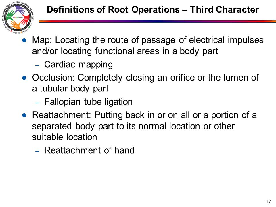 Definitions of Root Operations – Third Character Release: Freeing a body part from an abnormal physical constraint – Carpal tunnel release Removal: Taking out or off a device from a body part – Cardiac pacemaker removal Repair: Restoring, to the extent possible, a body part to its normal anatomic structure and function – Suture of laceration 18