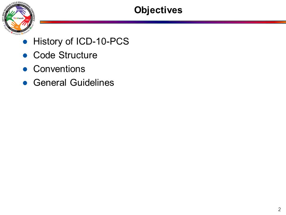 Objectives History of ICD-10-PCS Code Structure Conventions General Guidelines 2