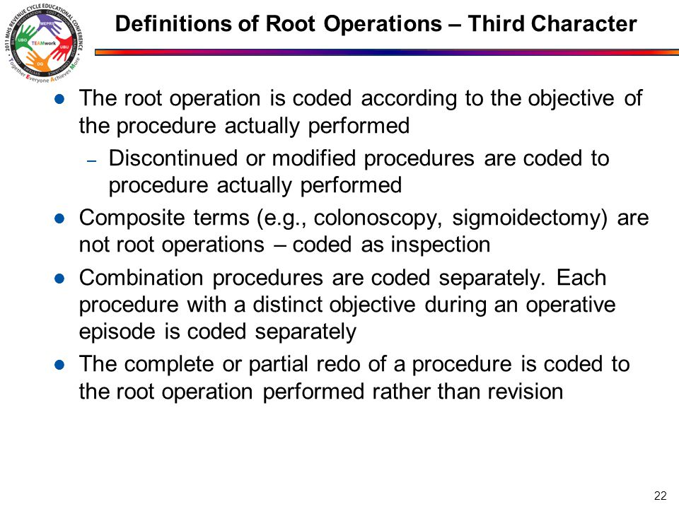 Definitions of Root Operations – Third Character The root operation is coded according to the objective of the procedure actually performed – Disconti