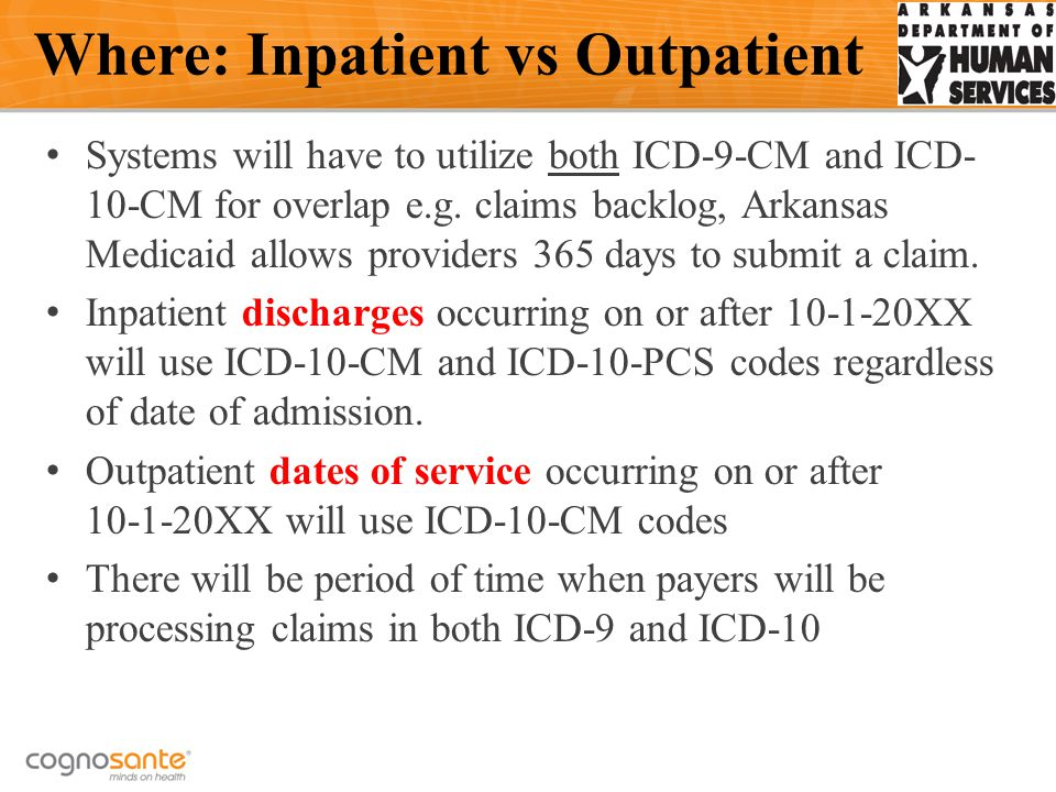 Systems will have to utilize both ICD-9-CM and ICD- 10-CM for overlap e.g.
