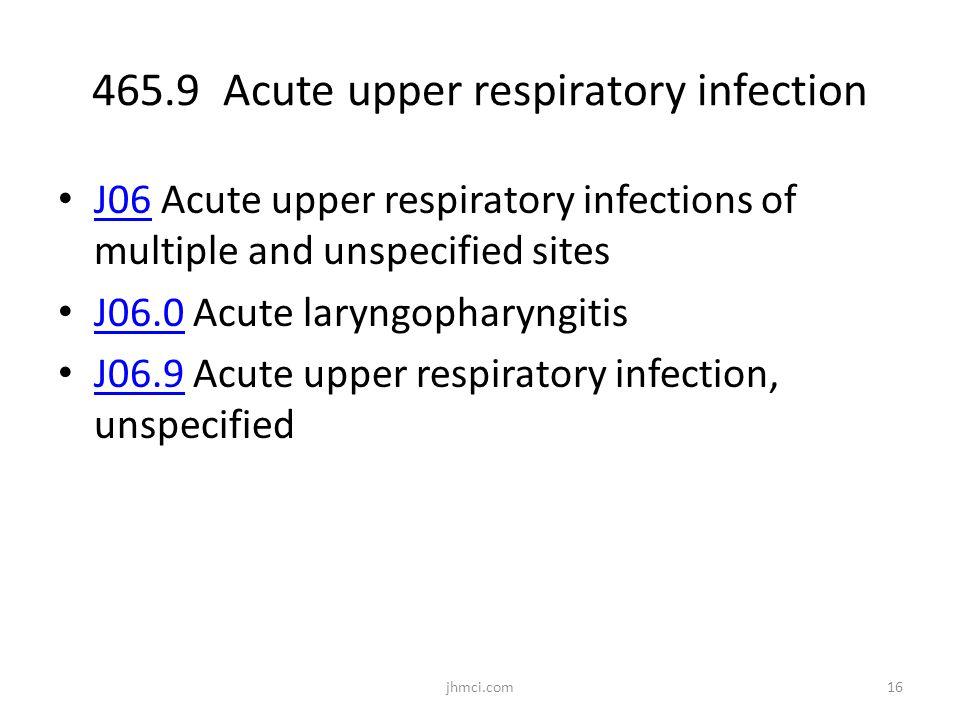 465.9 Acute upper respiratory infection J06 Acute upper respiratory infections of multiple and unspecified sites J06 J06.0 Acute laryngopharyngitis J0