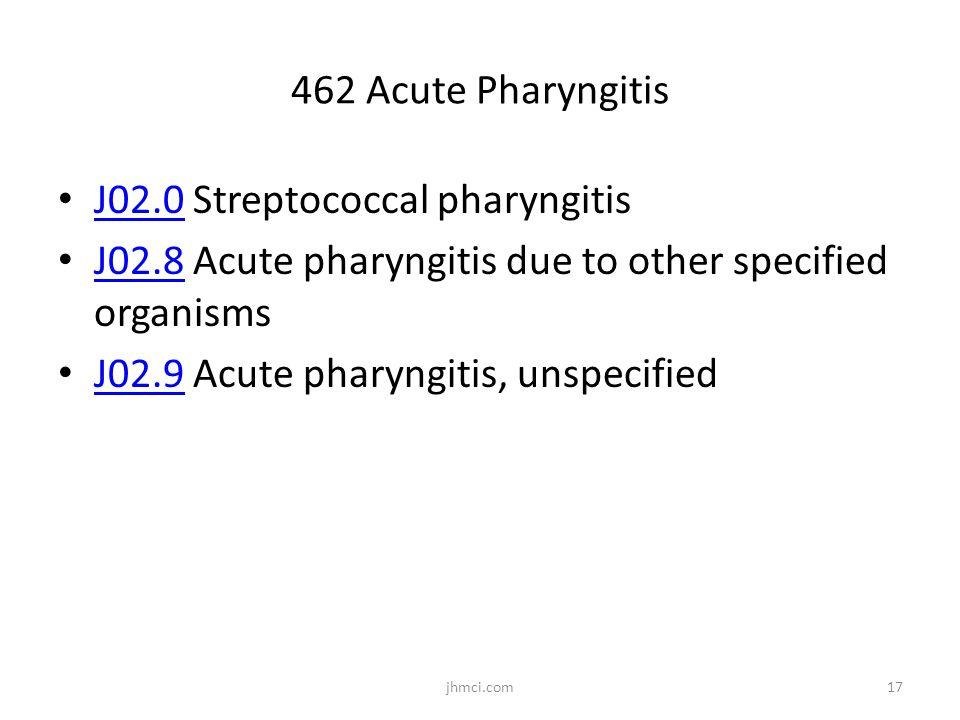 462 Acute Pharyngitis J02.0 Streptococcal pharyngitis J02.0 J02.8 Acute pharyngitis due to other specified organisms J02.8 J02.9 Acute pharyngitis, un