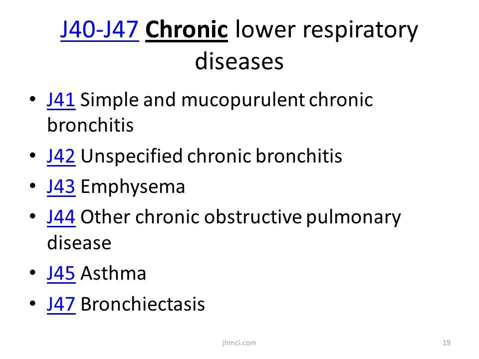 J40-J47J40-J47 Chronic lower respiratory diseases J41 Simple and mucopurulent chronic bronchitis J41 J42 Unspecified chronic bronchitis J42 J43 Emphys