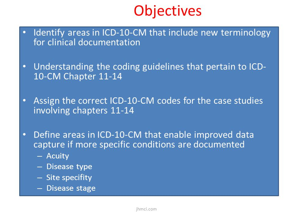 Objectives Identify areas in ICD-10-CM that include new terminology for clinical documentation Understanding the coding guidelines that pertain to ICD