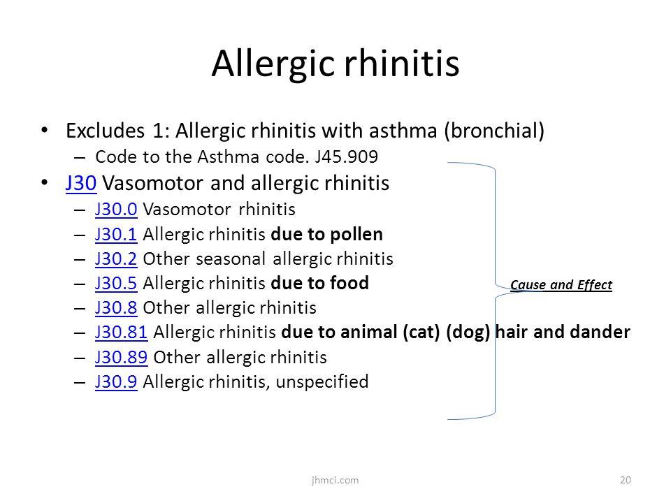 Allergic rhinitis Excludes 1: Allergic rhinitis with asthma (bronchial) – Code to the Asthma code. J45.909 J30 Vasomotor and allergic rhinitis J30 – J