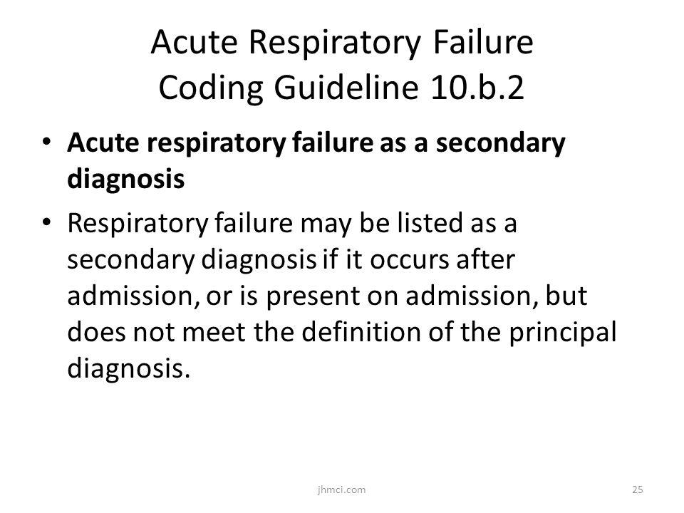 Acute Respiratory Failure Coding Guideline 10.b.2 Acute respiratory failure as a secondary diagnosis Respiratory failure may be listed as a secondary