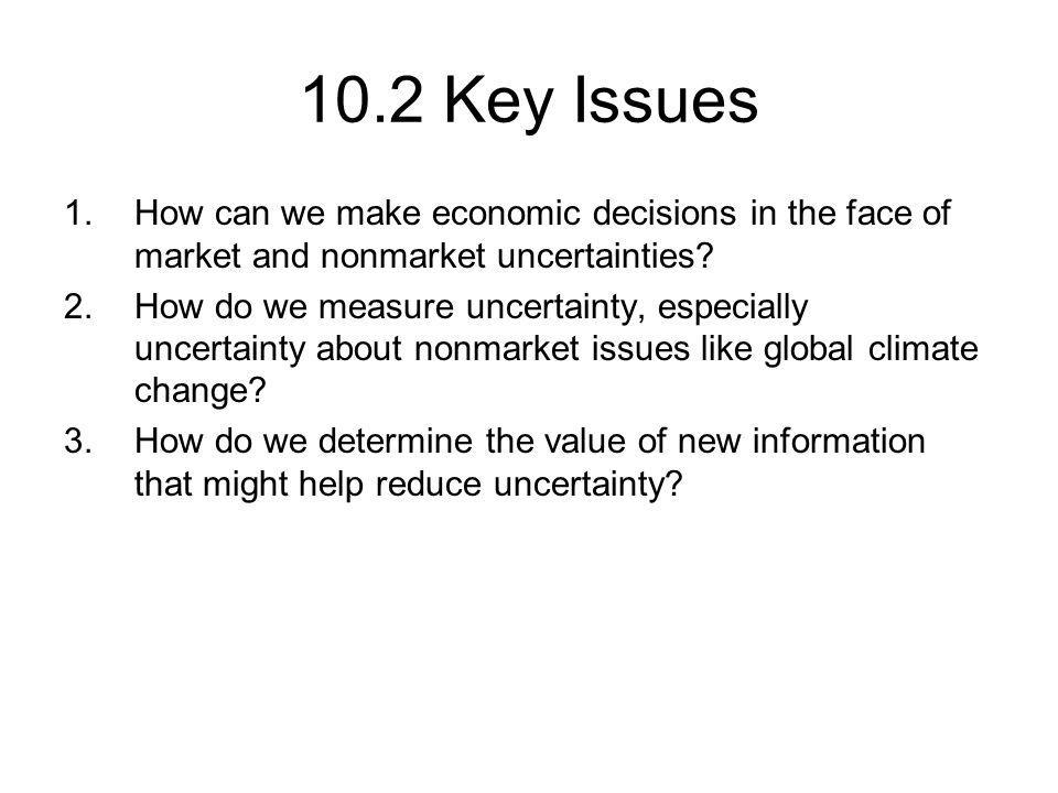 10.2 Key Issues 1.How can we make economic decisions in the face of market and nonmarket uncertainties.