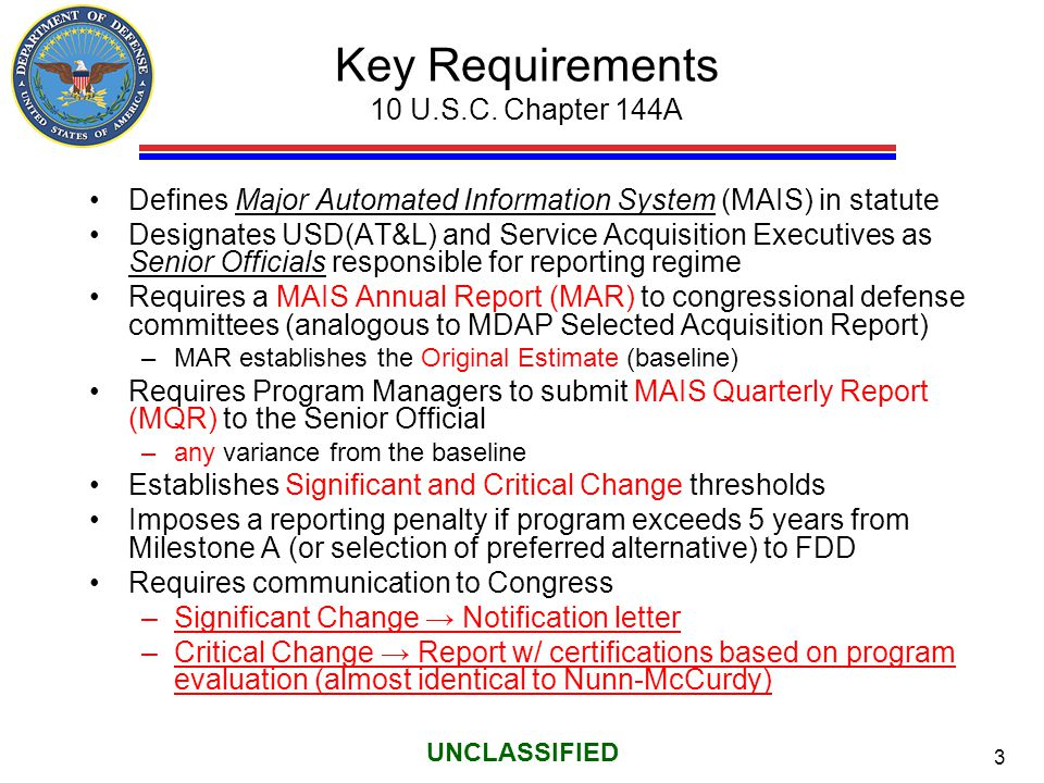 14 UNCLASSIFIED Chapter 144A MAIS Reporting Automation The APB, MAR, MAR Original Estimate, MQR, and DAES have been automated in DAMIR Working to combine MQR into DAES—Summer 2014 APB MAR OE MAR MQR DAES data DAMIR data