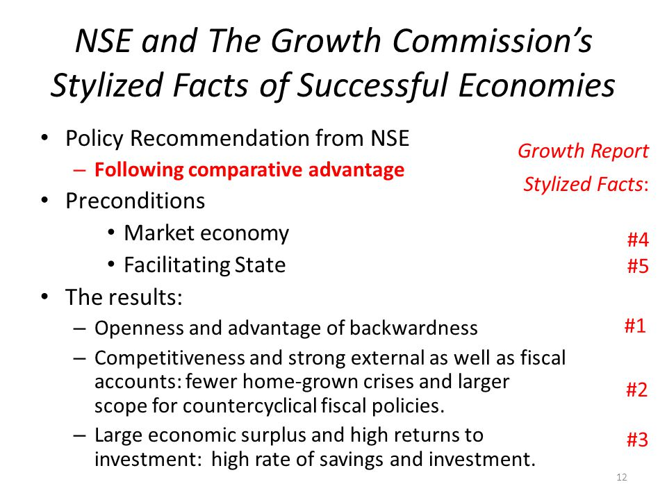NSE and The Growth Commission's Stylized Facts of Successful Economies Policy Recommendation from NSE – Following comparative advantage Preconditions Market economy Facilitating State The results: – Openness and advantage of backwardness – Competitiveness and strong external as well as fiscal accounts: fewer home-grown crises and larger scope for countercyclical fiscal policies.