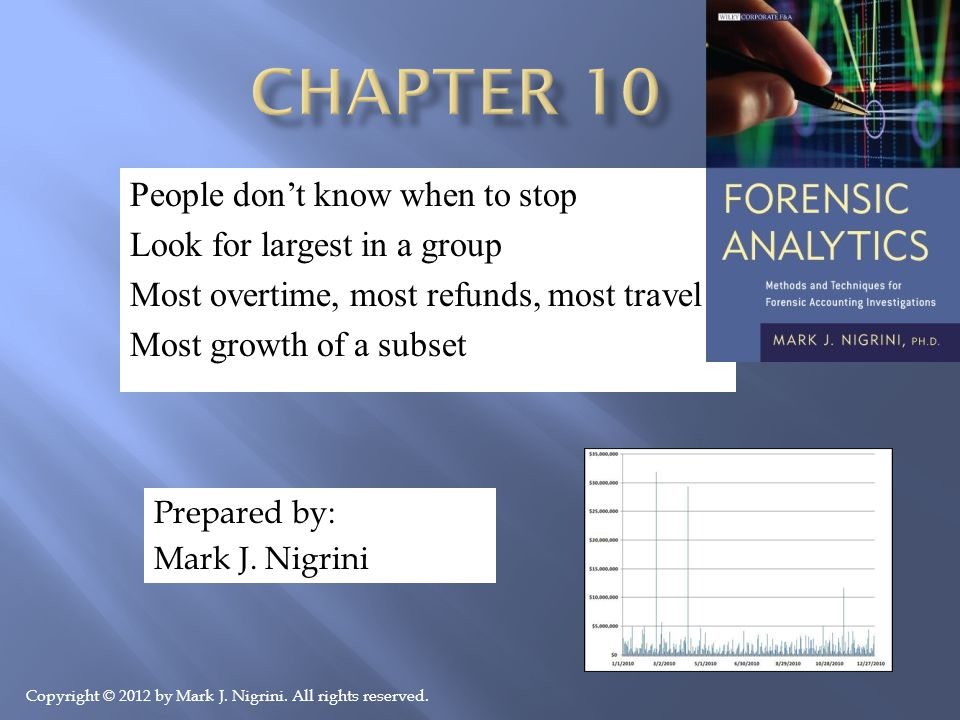 People don't know when to stop Look for largest in a group Most overtime, most refunds, most travel Most growth of a subset Prepared by: Mark J.