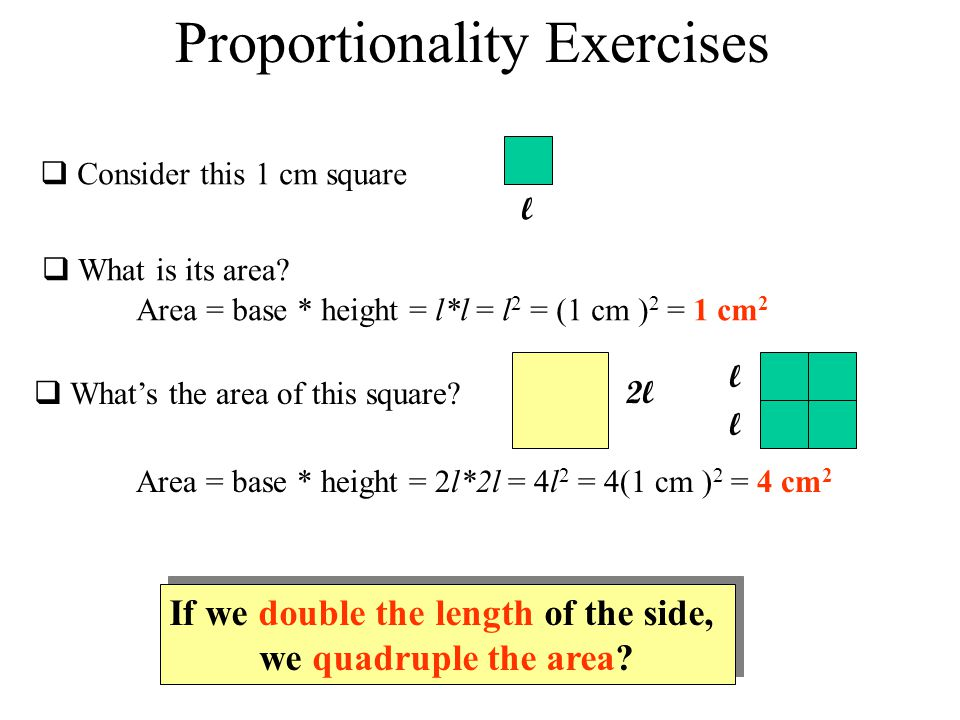 Proportionality Exercises  Consider this 1 cm square l  What is its area.