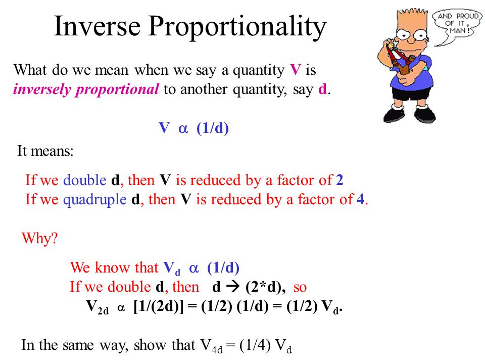 Inverse Proportionality What do we mean when we say a quantity V is inversely proportional to another quantity, say d.