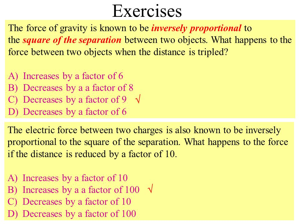 Exercises The force of gravity is known to be inversely proportional to the square of the separation between two objects.
