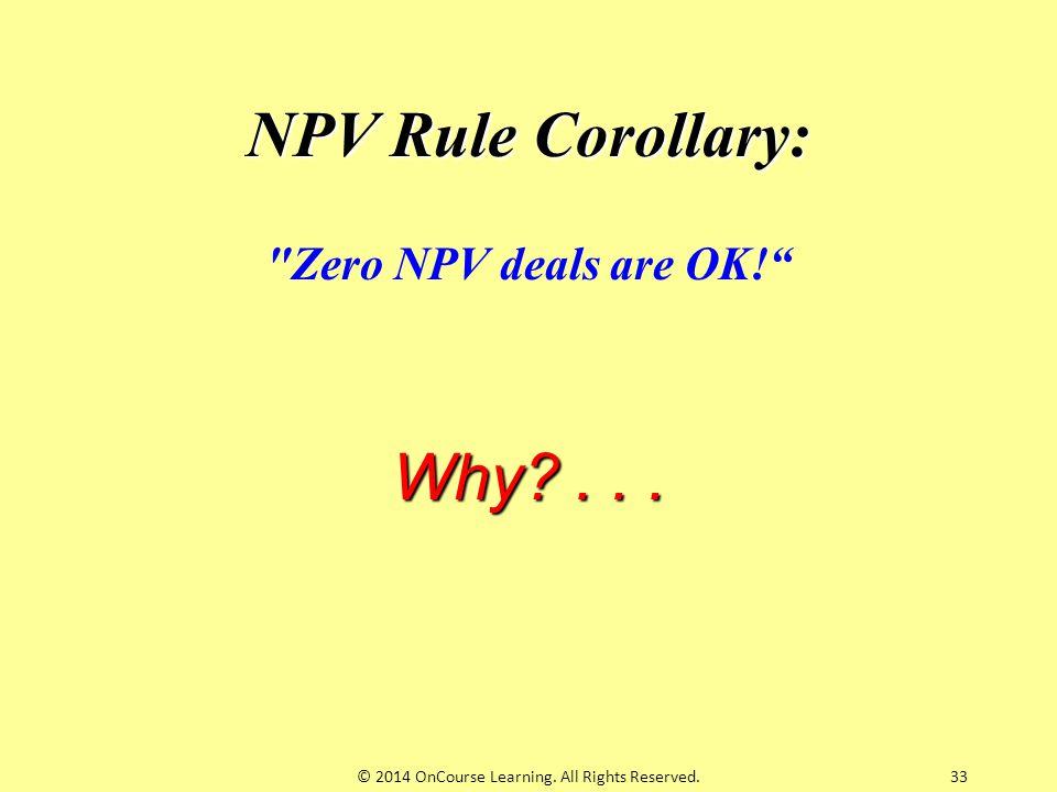 33 NPV Rule Corollary: