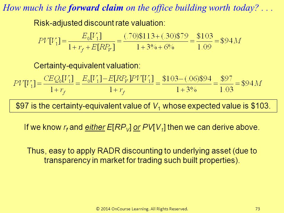 73 Risk-adjusted discount rate valuation: Certainty-equivalent valuation: $97 is the certainty-equivalent value of V 1 whose expected value is $103. H