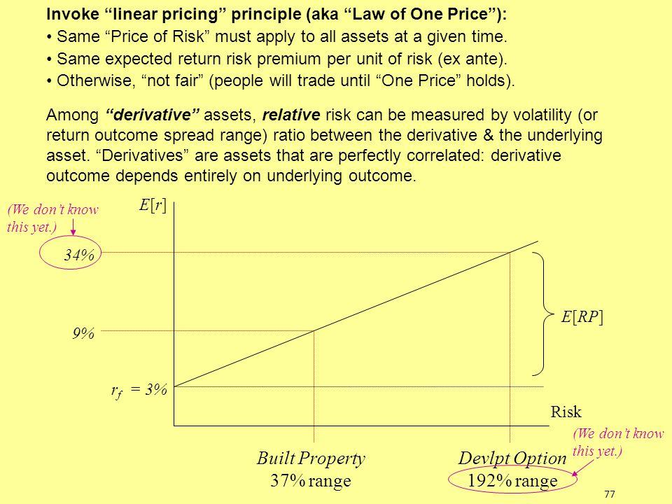 "77 Risk E[r]E[r] r f = 3% 34% 9% Built Property 37% range Devlpt Option 192% range E[RP] Invoke ""linear pricing"" principle (aka ""Law of One Price""): S"