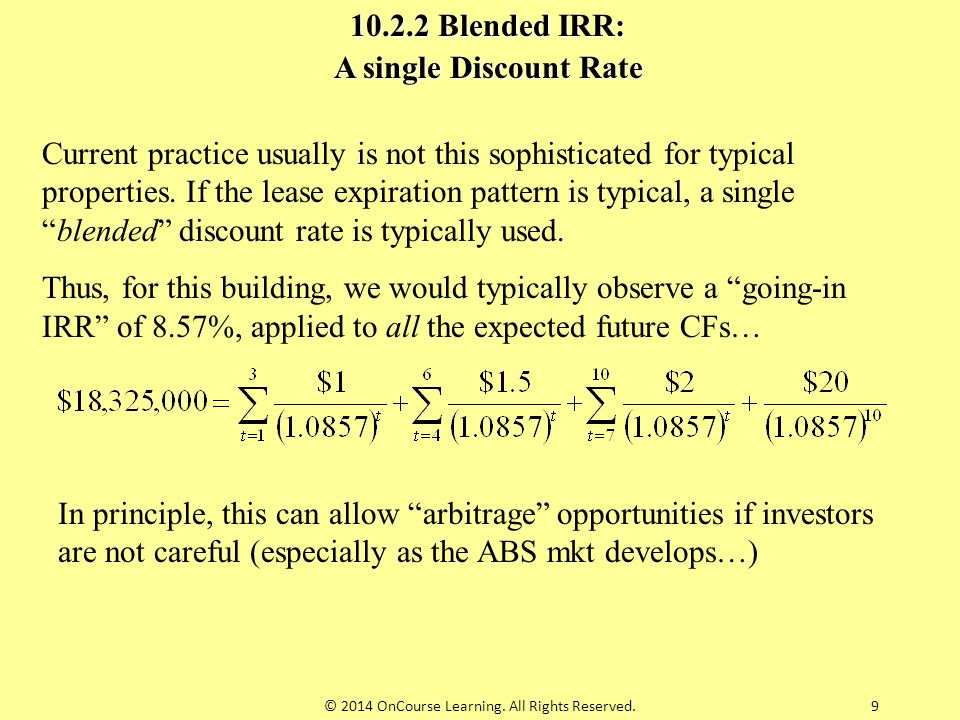 """9 Current practice usually is not this sophisticated for typical properties. If the lease expiration pattern is typical, a single """"blended"""" discount r"""