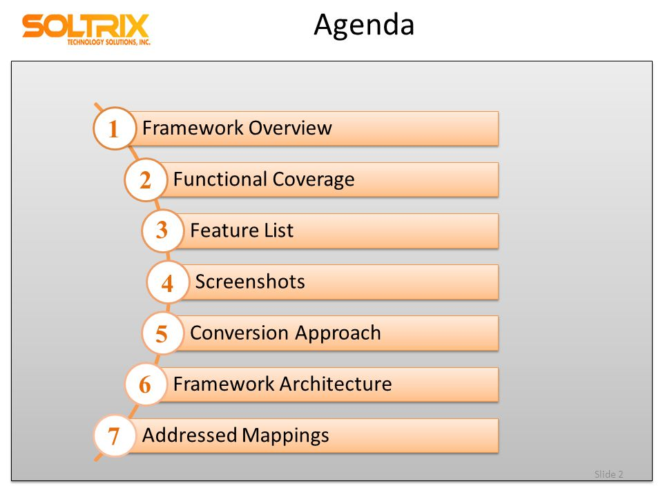 Agenda Framework Overview Functional Coverage Feature List Screenshots Conversion Approach Framework Architecture Addressed Mappings Slide 2 1 2 3 4 5 6 7