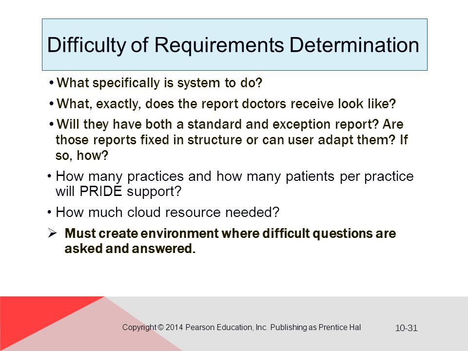 10-31 Difficulty of Requirements Determination What specifically is system to do? What, exactly, does the report doctors receive look like? Will they
