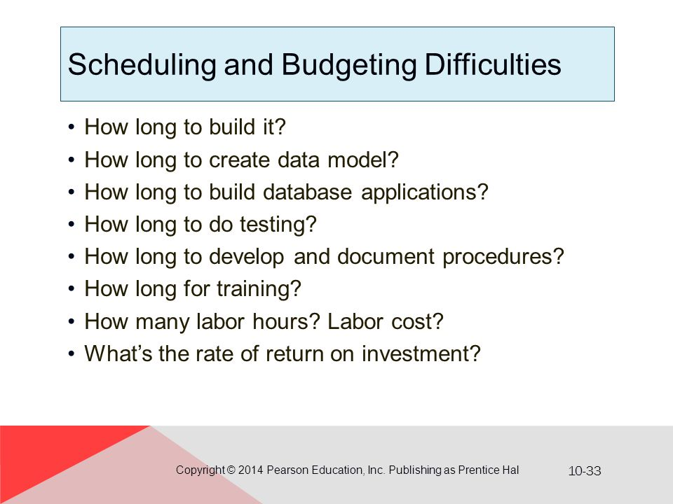 10-33 Scheduling and Budgeting Difficulties How long to build it? How long to create data model? How long to build database applications? How long to
